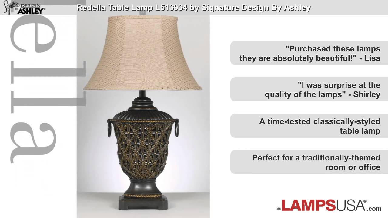 Ashley redella table lamp bronze l513934 youtube ashley redella table lamp bronze l513934 lampsusa aloadofball Image collections