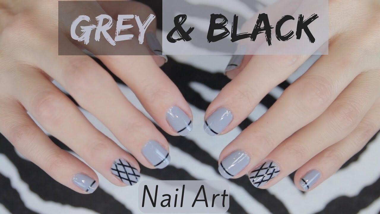 grey and black nail art tutorial