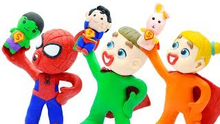 LUKA BABY SHARES SUPERHERO DOLLS  Baby Playing Cartoons For Kids