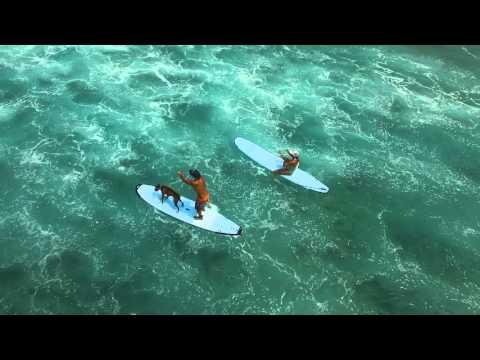 Surfing at Kahalu'u Beach Park, Kona Hawaii