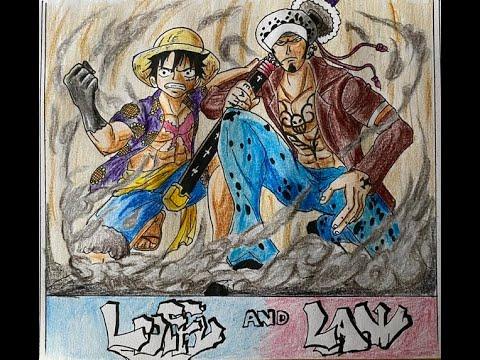 DRAW LUFFY AND LAW – One Piece ( hướng dẫn vẽ luffy và law cực đơn giản) – graffiti