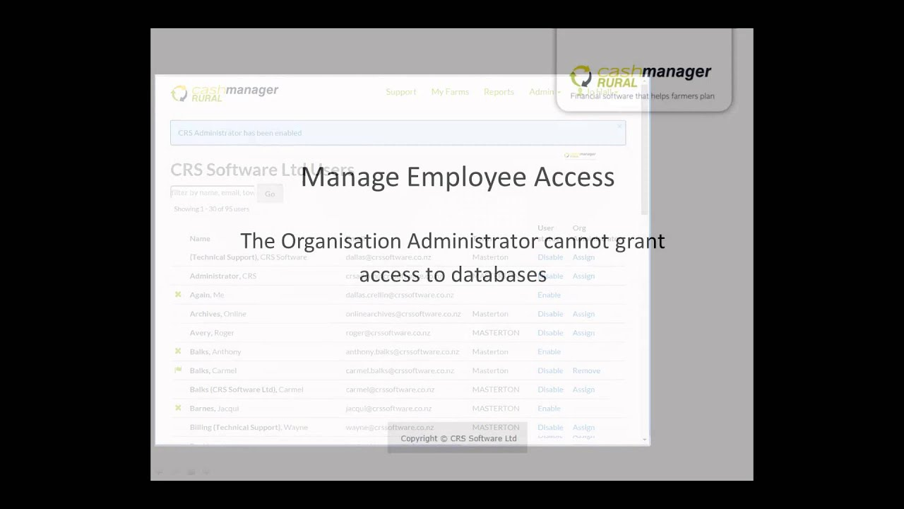 Cashmanager RURAL - Manage Employee Access
