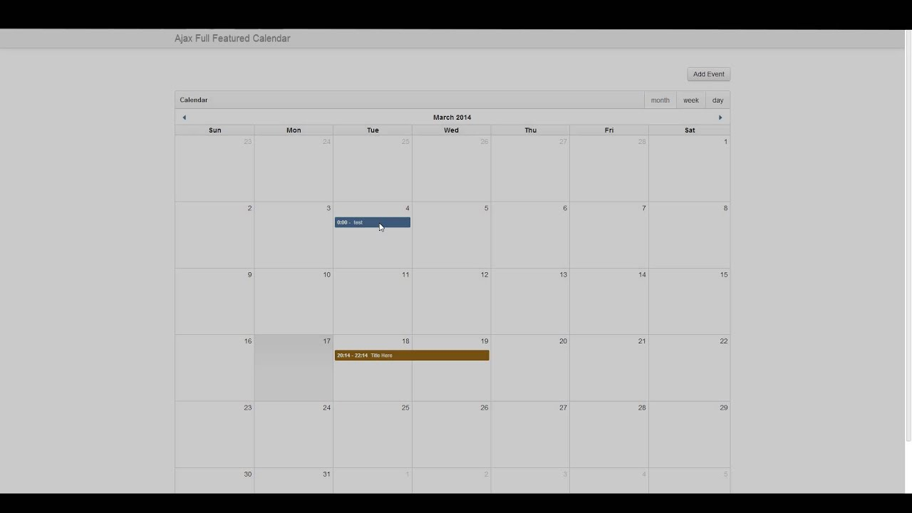 Ajax Full Featured Calendar (fullcalendar) - 4 Deleting Event