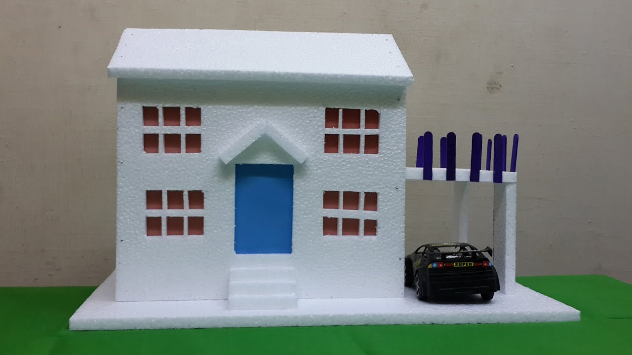 How to make thermocol bungalow house model school project for kids youtube Make home design