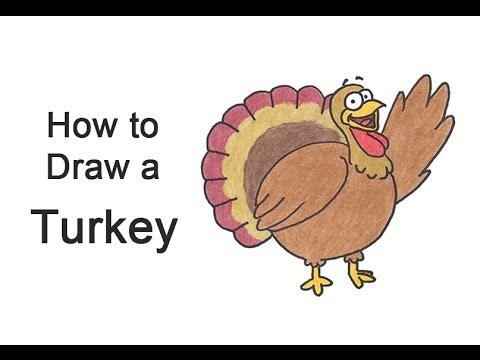 How to Draw a Cartoon Thanksgiving Turkey - YouTube