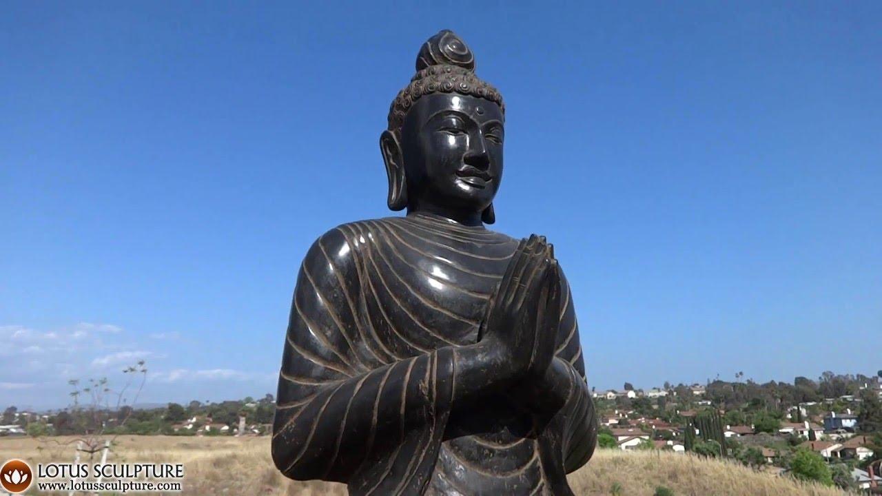 Namaste Anjali Stone Garden Buddha Statue Lotussculpture