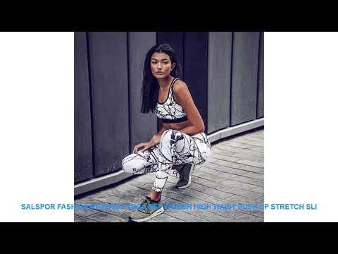 SALSPOR Fashion Printing Yoga Set Women High Waist Push Up Stretch Sli