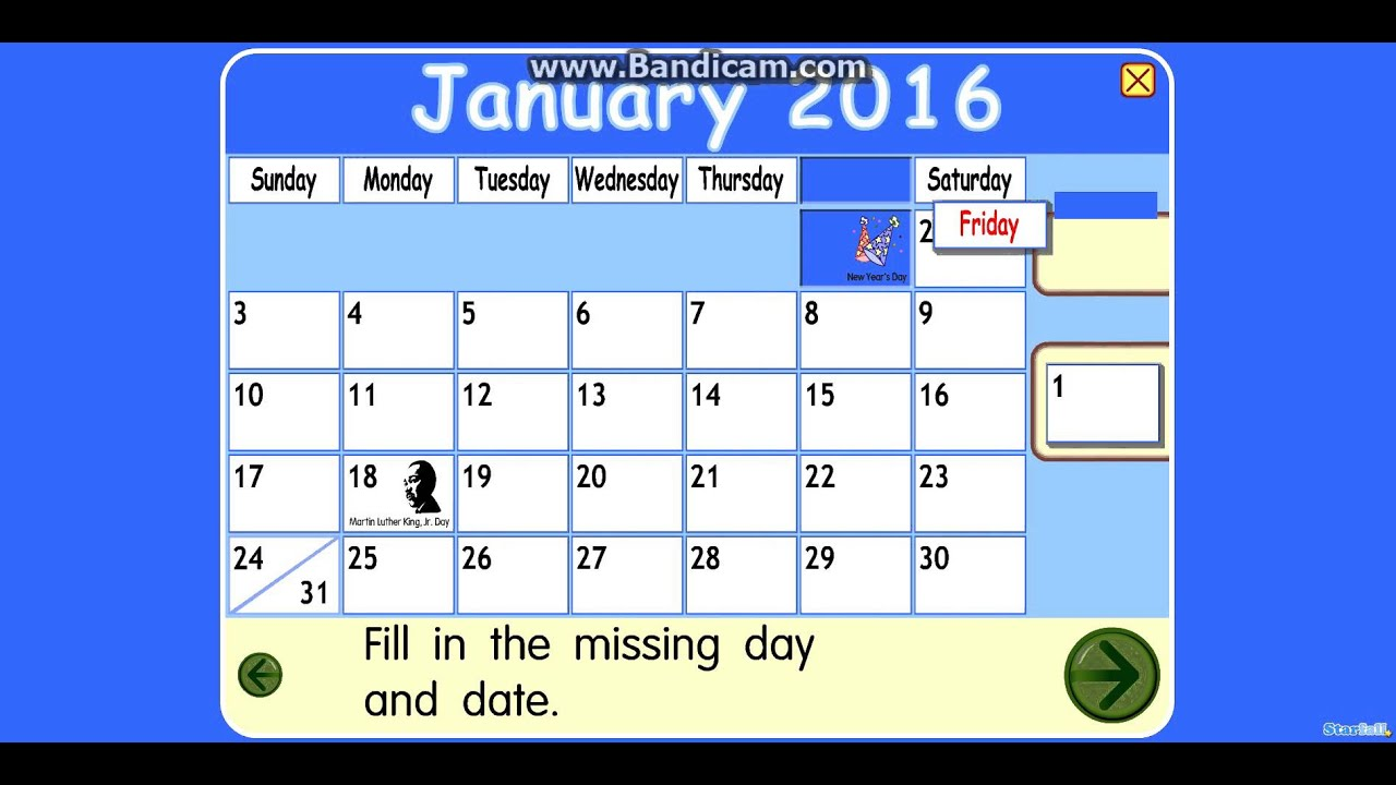 Youtube Starfall Calendar