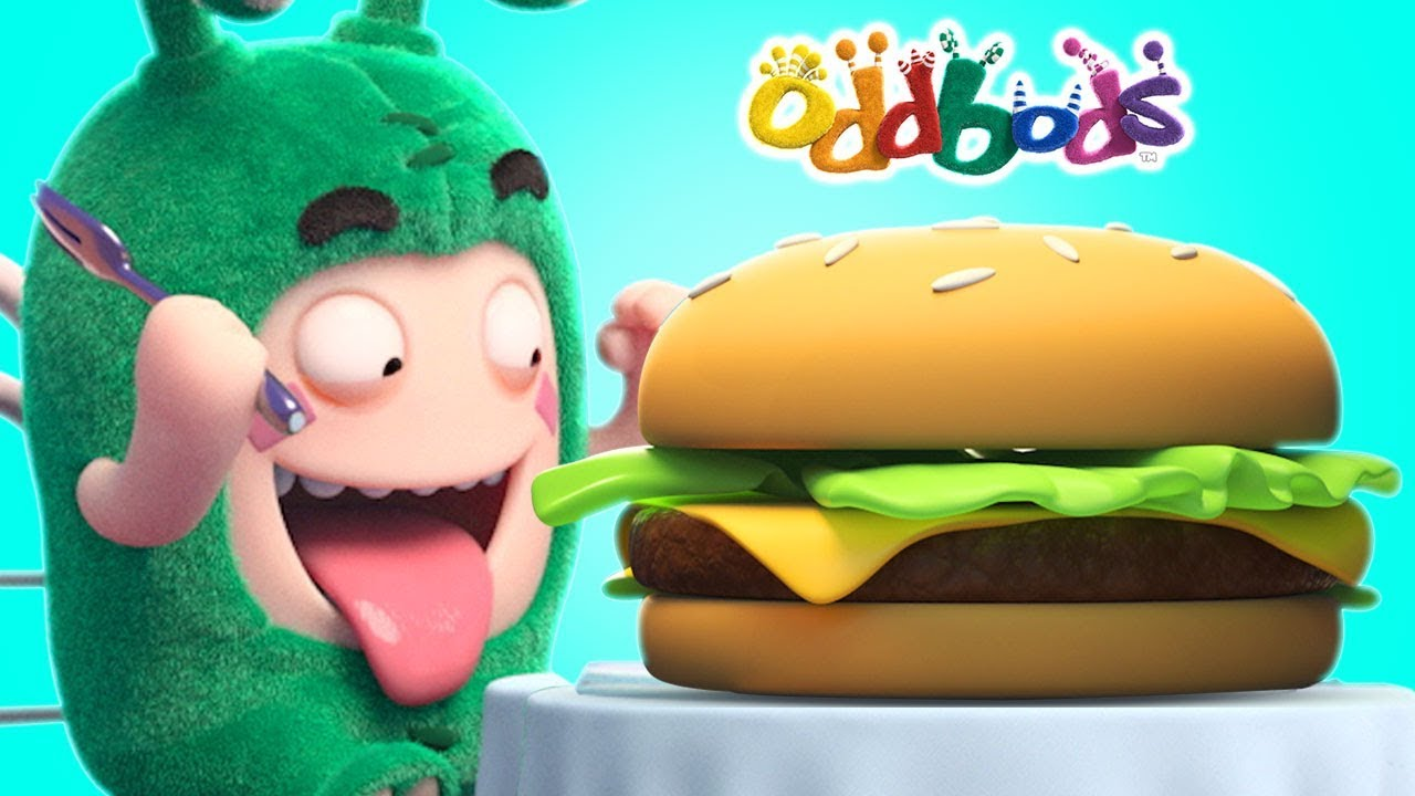 Oddbods | Love For GIANT BURGERS | Funny Cartoons For Children