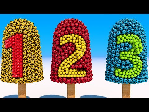 Thumbnail: Learn Numbers with Soccer Balls Ice Cream for Kids and Children