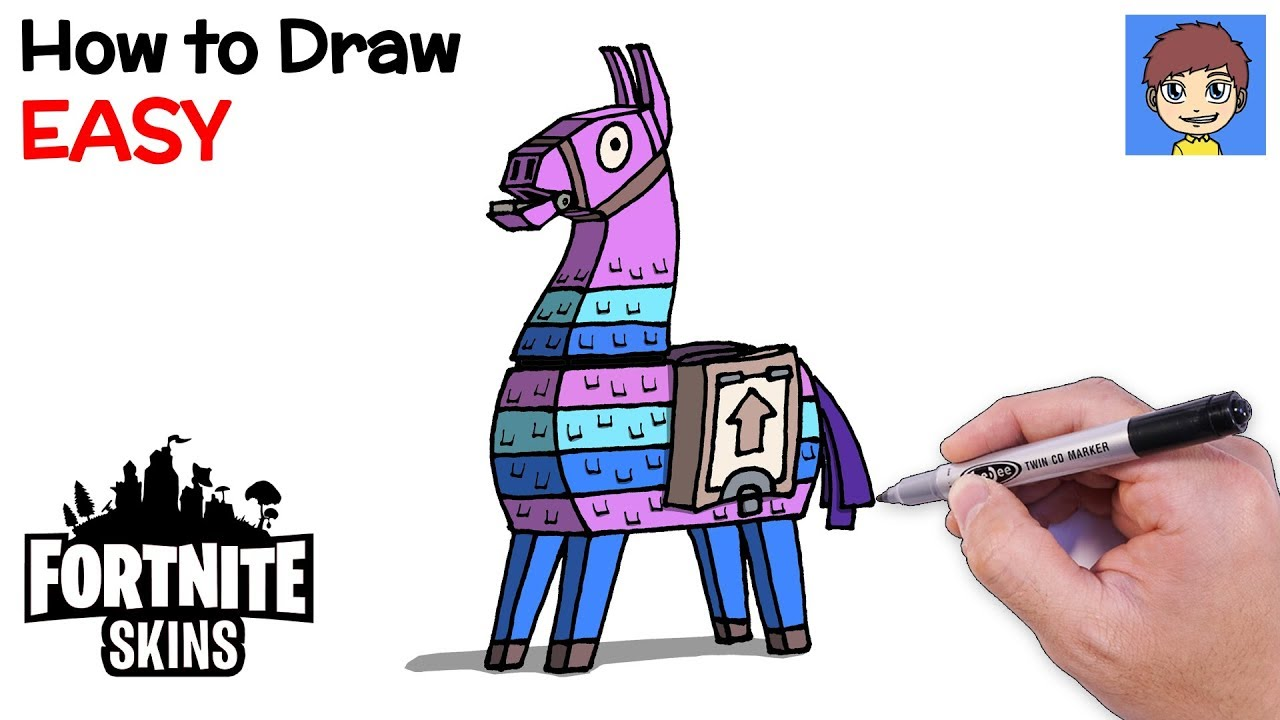How To Draw Fortnite Llama Step By Step Fortnite Skins Drawing