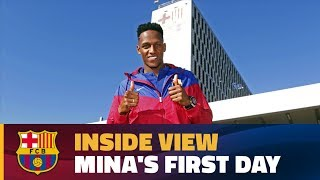 [BEHIND THE SCENES] Yerry Mina's first day at Barça
