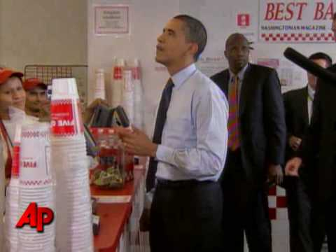 Raw Video: Obama Stops for Cheeseburgers