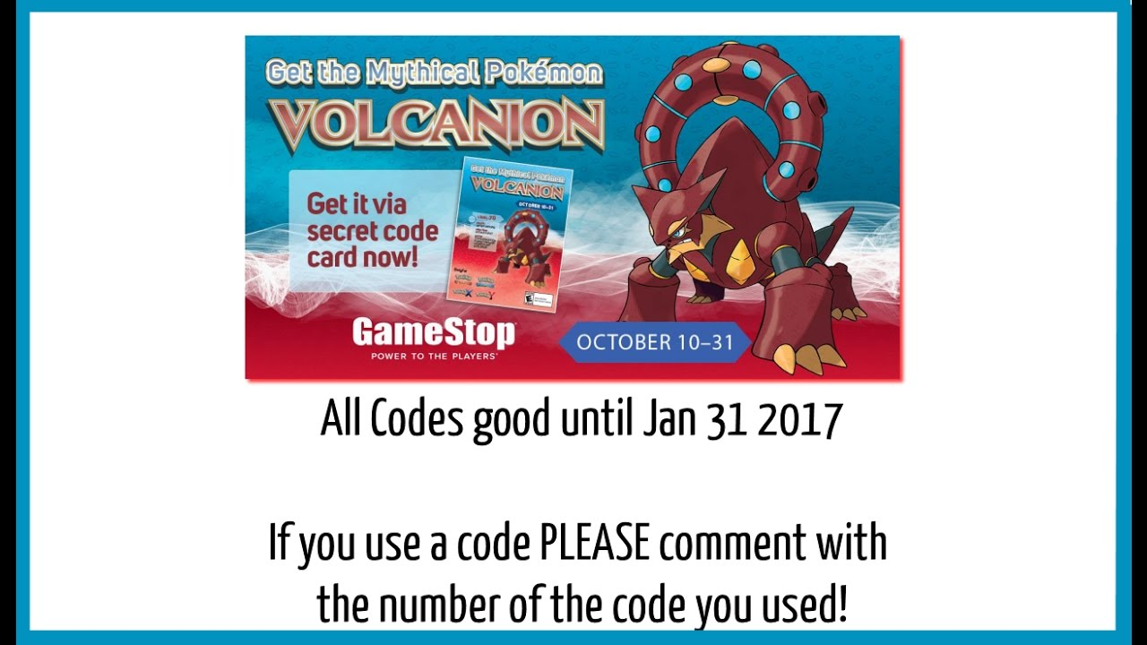 Pokemon x and y mystery gift codes free