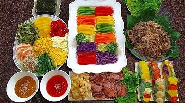 다이어트에 좋은 월남쌈 만들기 온갖채소와 특제소스로 맛있게 만들어봐요! 소불고기 오리훈제 새우까지!