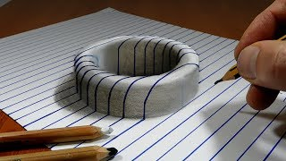 Draw a Round Hole on Line Paper   3DTrick Art