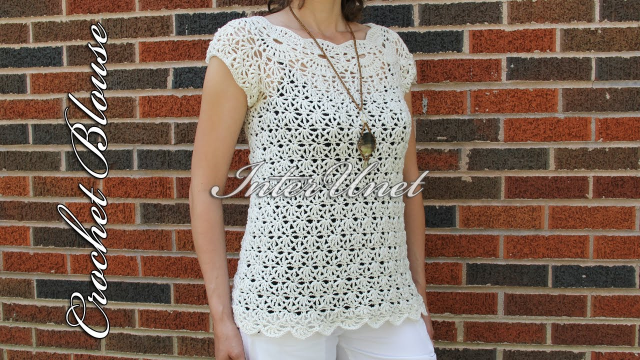 2141486415404d White jasmine blouse – crochet summer top - YouTube