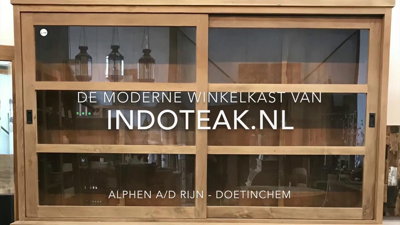 Indoteak Tv Kast.Teak Winkelkast Met Schuifdeuren Youtube