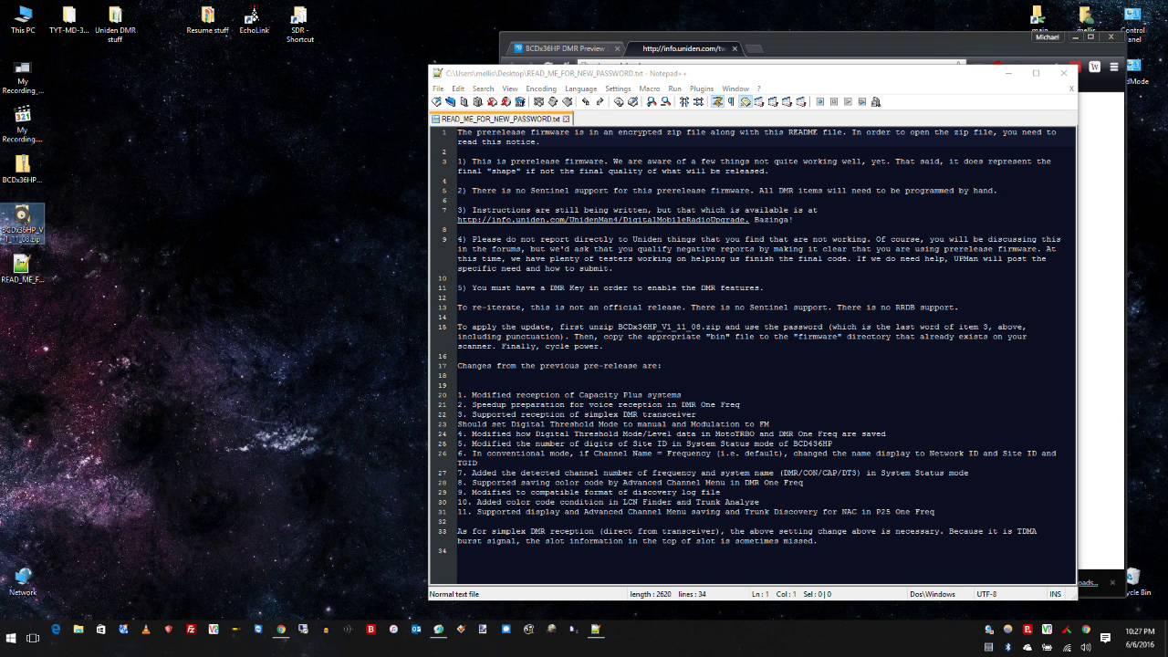 Uniden BCDx36HP DMR Pre-Release Firmware Installation