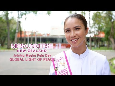 Miss Universe NZ in Temple Tour and Global Light of Peace (Sub  EN)