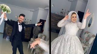 عروسة فاجئت الجميع بفستانها الروعه ورقصها على مهرجان بكار وحسونة 😍شوف رد فعل العريس لما شاف عروسته❤️