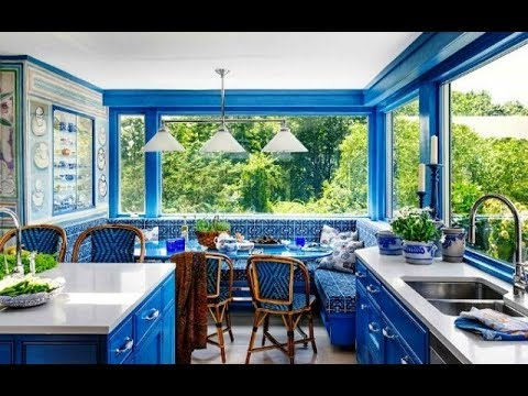 Beautiful Kitchen With Blue Colour