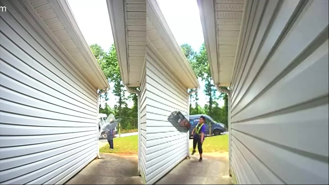 Amazon delivery driver throws package