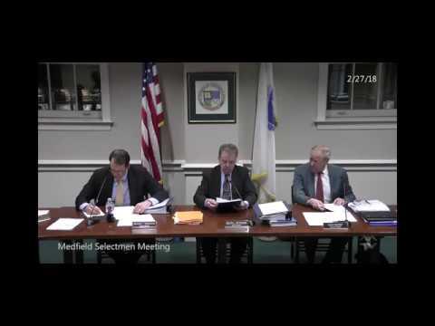 Medfield Selectmen (2-27-2018): Senior Housing survey; Department Head Budget presentations; Others