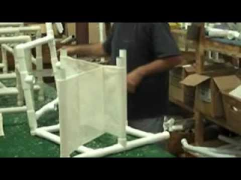 How to assemble a pvc patio chair youtube for Pvc pipe lounge chair