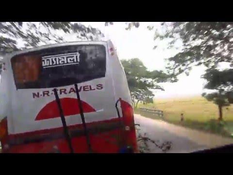 Thrilling bus driving in Bangladesh. Dhaka - Sylhet Highway.