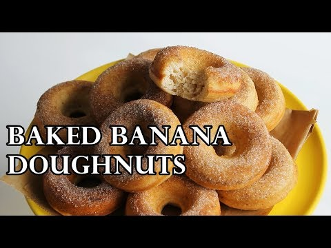 AMAZING SOFT BAKED BANANA AND CINNAMON DOUGHNUTS RECIPE | INTHEKITCHENWITHELISA