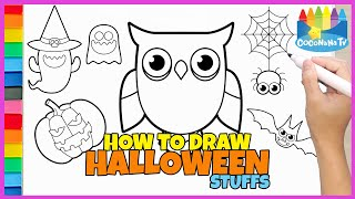 HALLOWEEN STUFFS - How to Draw and Color - Coconana