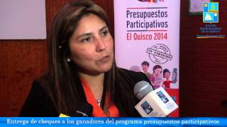 Entrega de cheques a los ganadores del programa presupuestos participativos