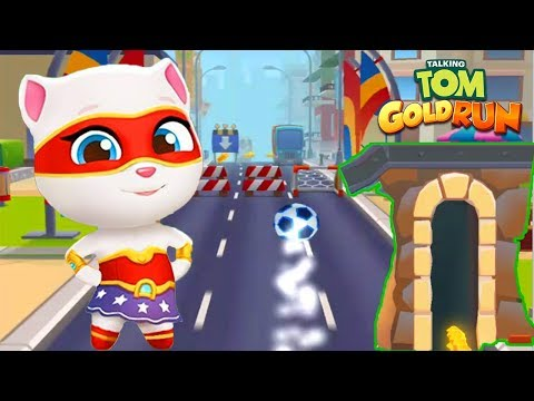 Talking Tom Gold Run Android Gameplay - Super Angela Football Frenzy in Tom's World!