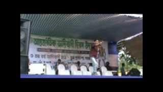 Rathin kisku at Jhargram Antarjatik Biswa Adibasi dibos.
