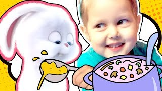 Тайная Жизнь Домашних Животных Кролик Снежок Голодный Готовим вместе Суп Играем в повара Кухня