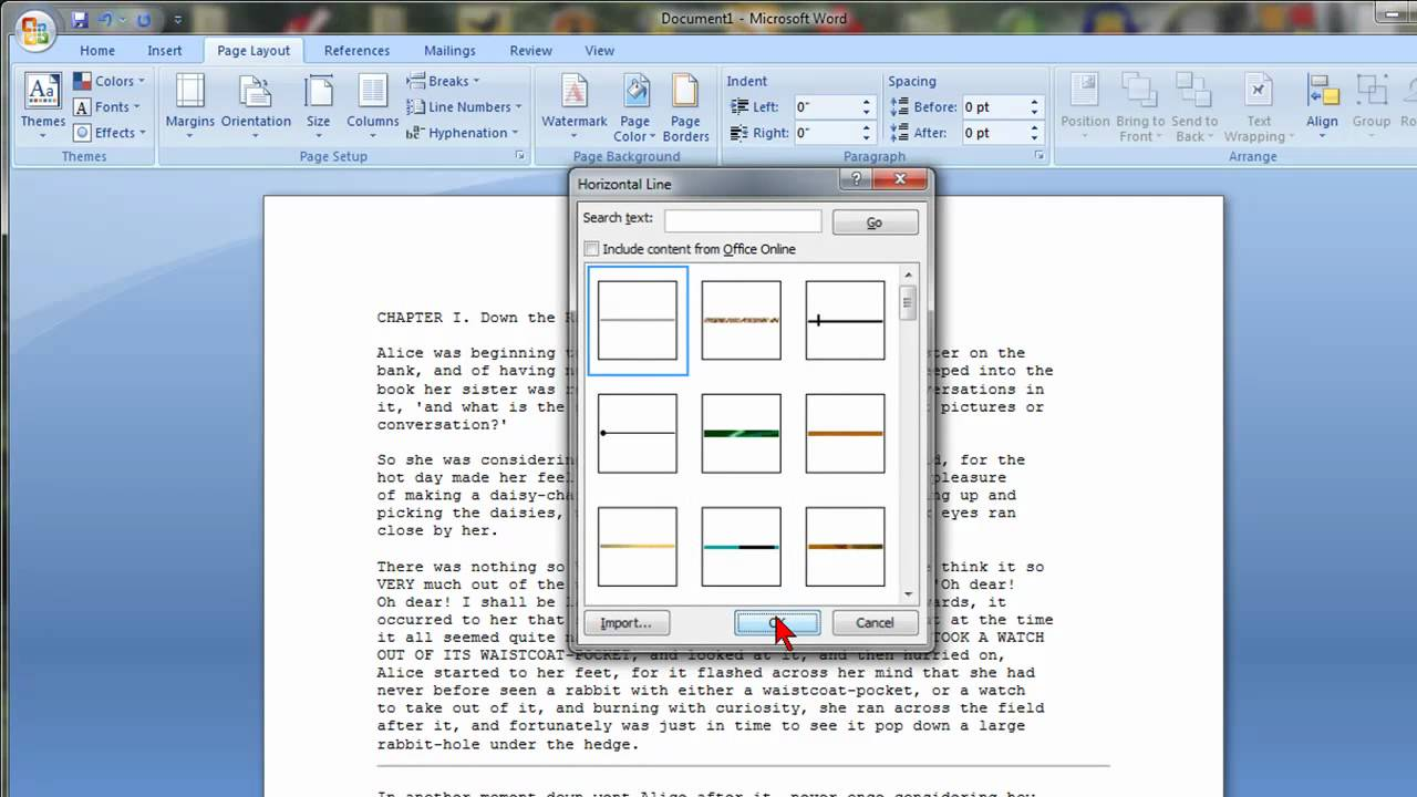 How To Insert Horizontal Lines In Microsoft Word 2007 - YouTube