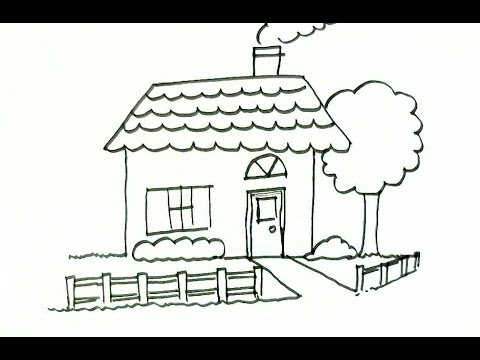 How to draw a house step by step for kids children beginners