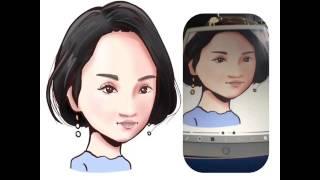 女優満島ひかりさん。 カメラ位置がiPadと体の間に置いた状態での描画の...