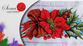 Flores de Natal em Tecido (Natal 1) Sonalupinturas