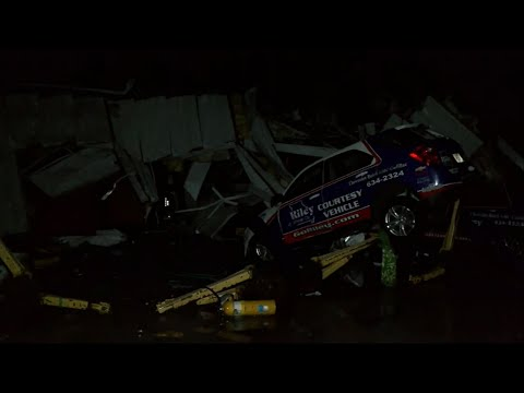 Central Missouri tornado wrecks car dealership