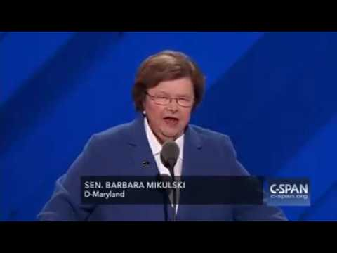 Barbara A Mikulski officially nominates Hillary Clinton for President of the United States