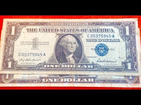 1957 Silver Certificate - US One Dollar Bill- Blue Seal
