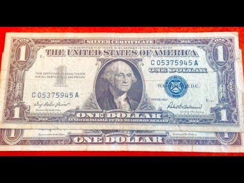 1957 Silver Certificate - US One Dollar Bill- Blue Seal