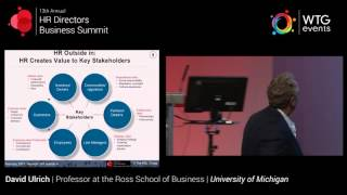 David ulrich, professor at the ross school of business university michigan speaking hr directors summit 2015. his session is entitl...