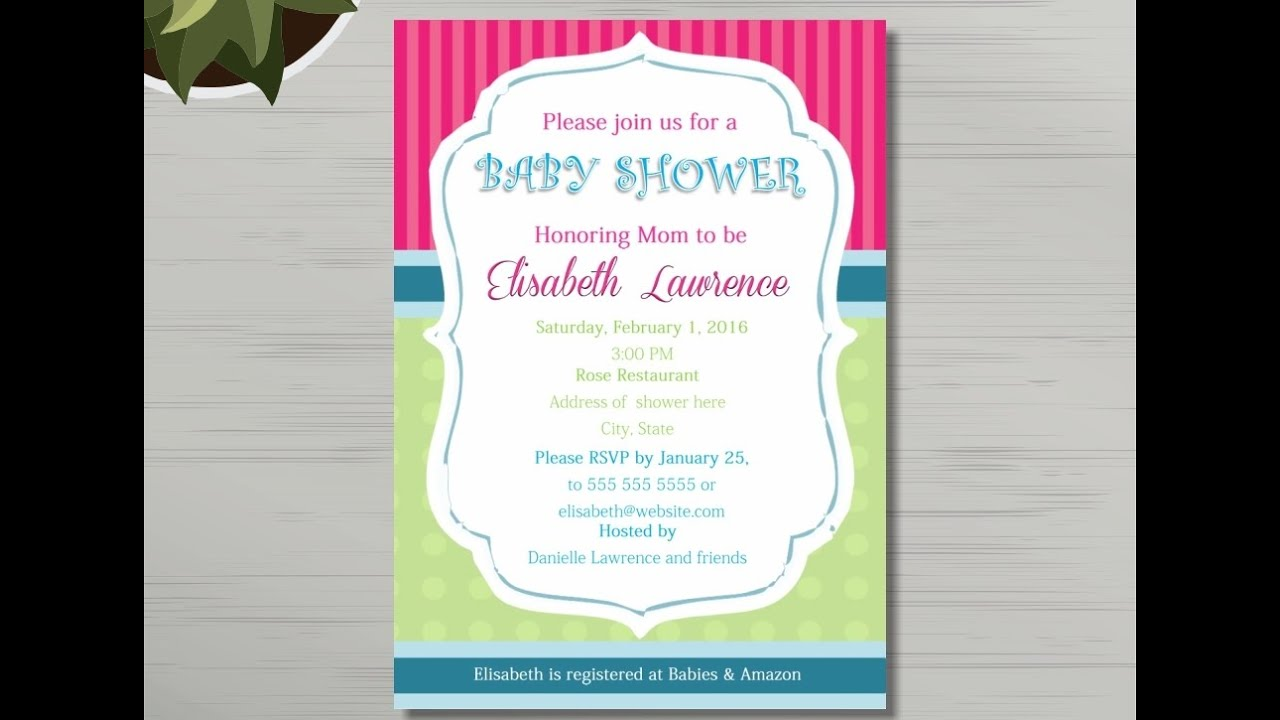 Baby Shower Invitation Template - YouTube