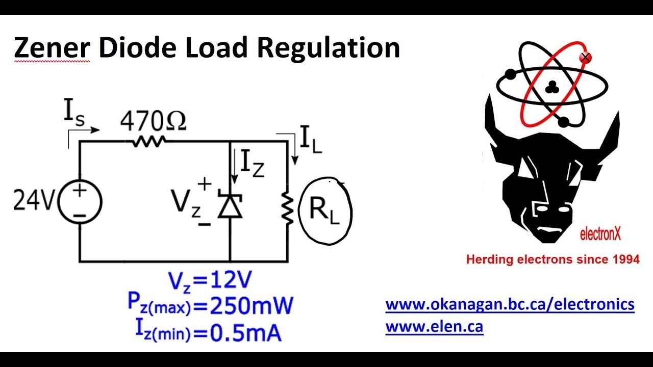 Zener Diode Load Regulation Example Youtube Parallel 250 Pnp Transistor Switch Series And Circuits