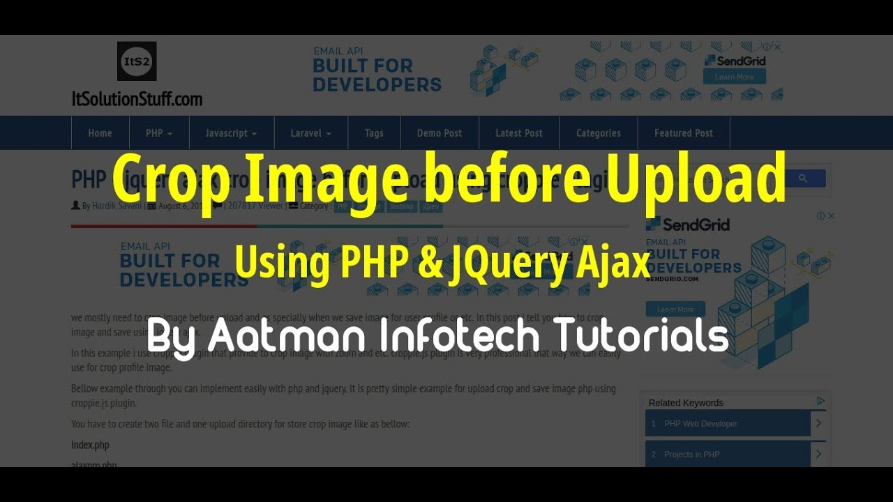 PHP - jquery ajax crop image before upload using croppie plugin