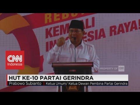 (FULL) Pidato Prabowo Subianto di HUT Ke-10 Partai Gerindra