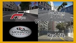 rFactor Pro vs Project Cars vs Real Life @ Monaco